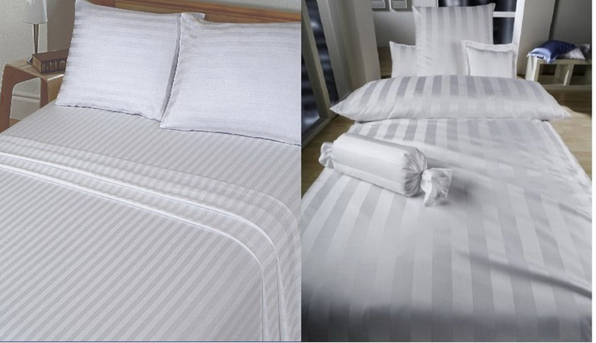 Strip satin bed sheets